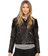 Nicole Miller - Asymetrical Zip Front Leather Moto - Lamb Skin and Goat Suede Combination