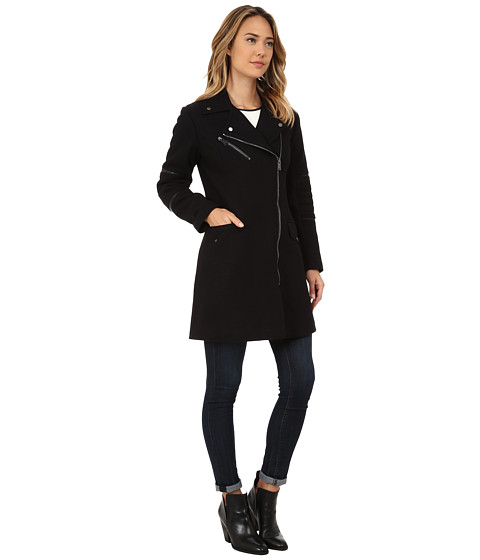 Nicole Miller Walker Asymmetrical Zip Front Wool Coat with Shouler ...