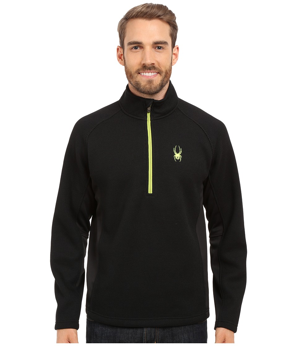 Spyder - Outbound Half Zip Mid Weight Core Sweater (Black/Black/Theory Green) Men