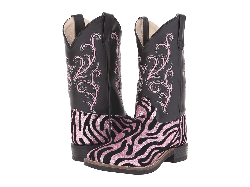 Old West Leatherette Western Boots (Toddler/Little Kid) (Leatherette Zebra Glint Print) Cowboy Boots