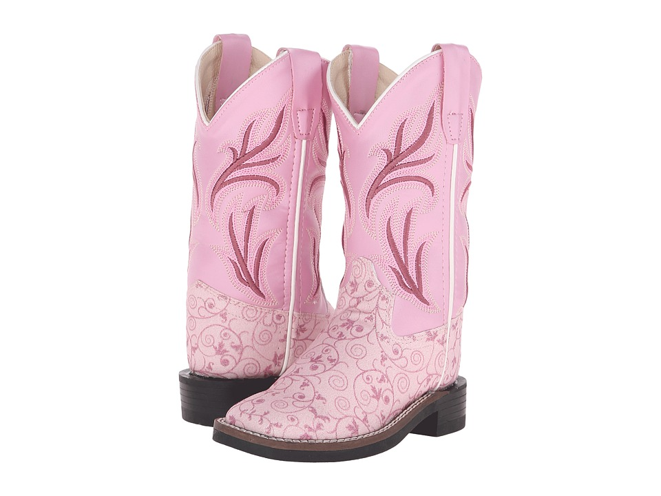 Old West Kids Boots Leatherette Western Boots Toddler/Little Kid Leatherette Flower Print Cowboy Boots
