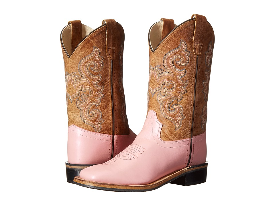 Old West Kids Boots Western Boots Toddler/Little Kid Metallic Pink/Tan Fry Cowboy Boots