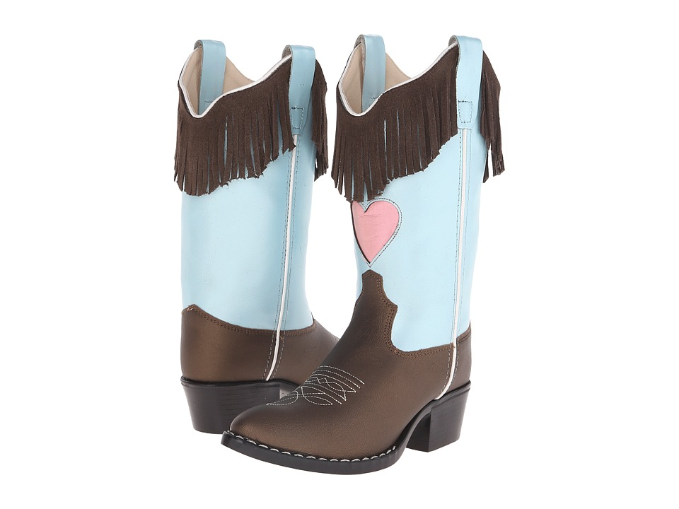 Old West Kids Boots Western Boots Toddler/Little Kid Brown Varona/Silver Light Blue Cowboy Boots