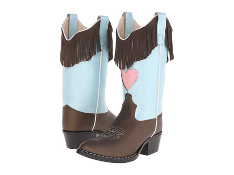 Old West Kids Boots Western Boots (Toddler/Little Kid) - Brown Varona/Silver Light Blue