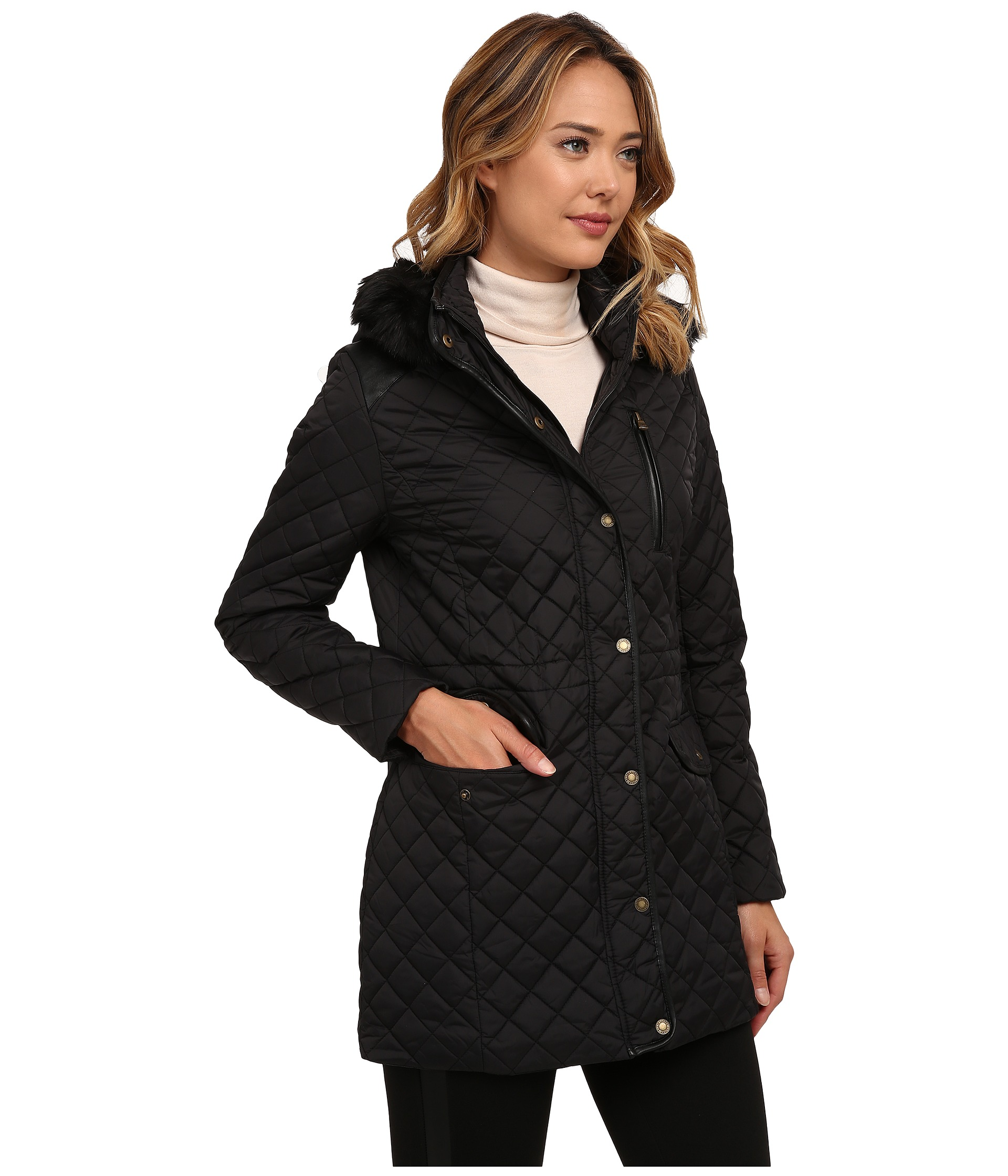 ... lauren ralph lauren faux fur collar zip up jacket ...