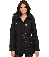 MICHAEL Michael Kors - Button Front Belted 3/4 Down w/ Faux Fur