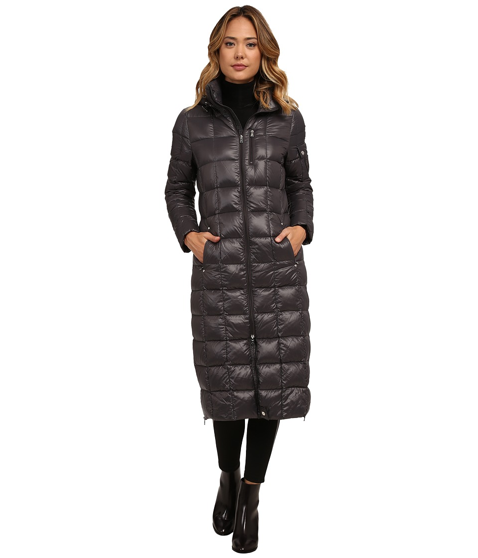 LAUREN Ralph Lauren Maxi w/ Removable Hood (Gunmetal) Women