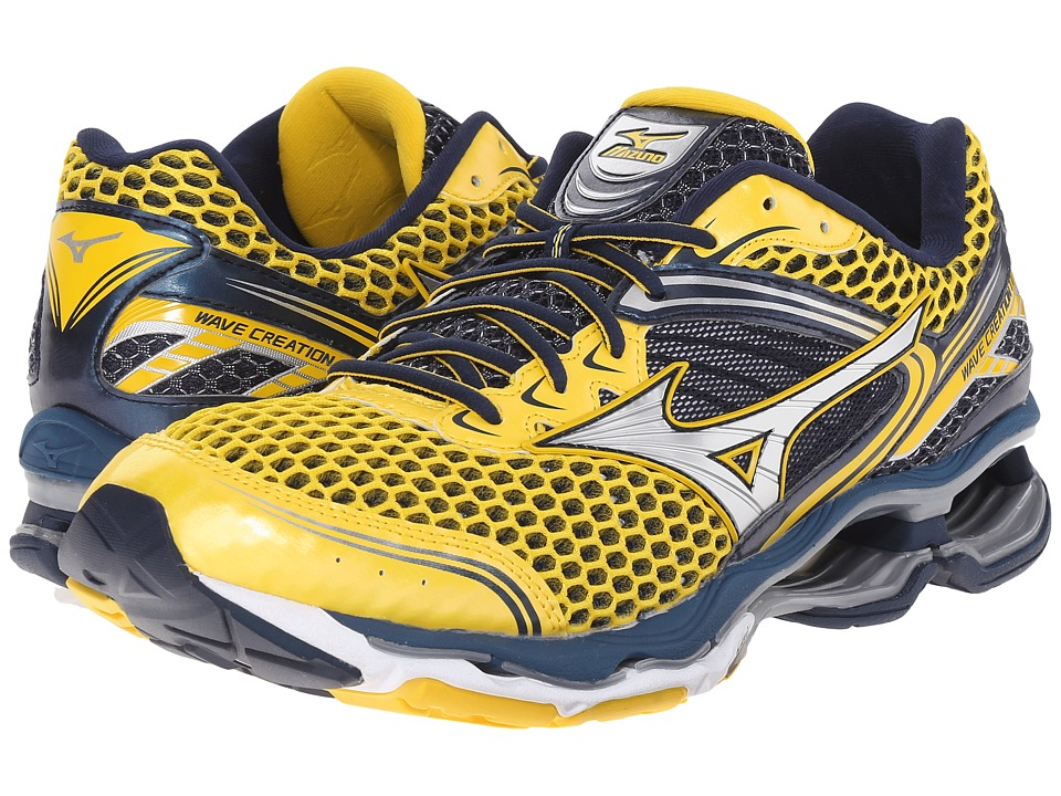 Mizuno Wave Creation 17 Cyber Yellow/Silver/Dress Blue Mens Running Shoes