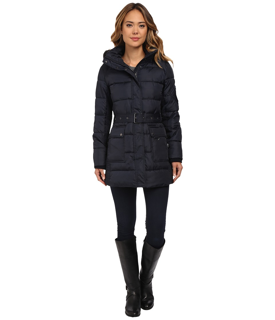 LAUREN Ralph Lauren - Belted Polyfill Down with Hood (Dark Navy) Women