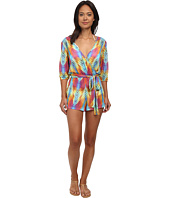 Luli Fama - Playa Verano Wrap Front Three-Quarter Sleeve Romper Cover-Up