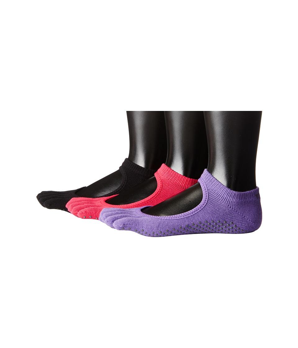 toesox Bella Full Toe 3 Pack Black/Fuchsia/Light Purple Womens No Show Socks Shoes
