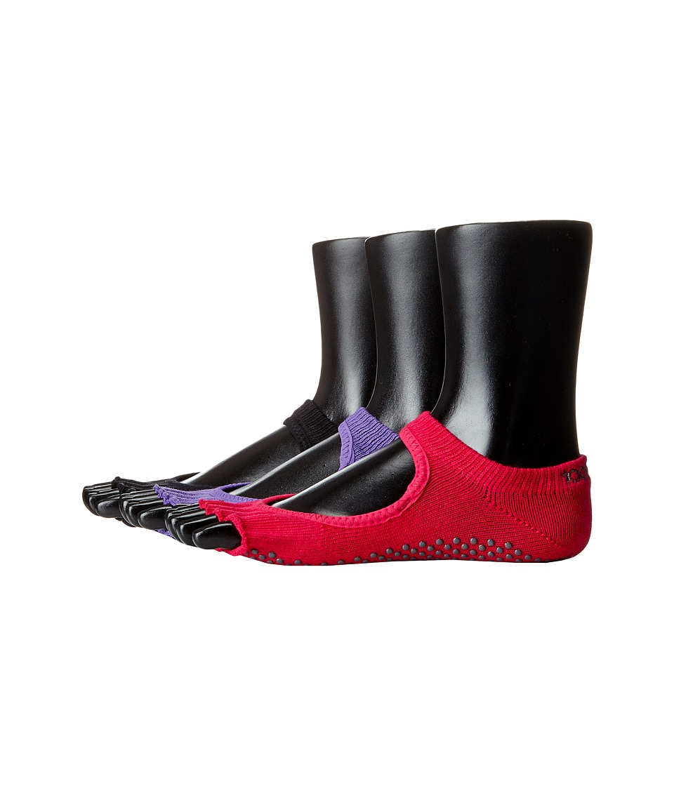 toesox Bella Half Toe 3 Pack Black/Fuchsia/Light Purple Womens Crew Cut Socks Shoes