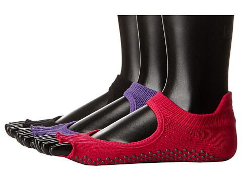toesox Bellarina Half Toe 3-Pack - Black/Fuchsia/Light Purple