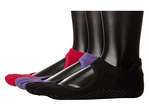 toesox Bellarina Full Toe 3-Pack - Black/Fuchsia/Light Purple