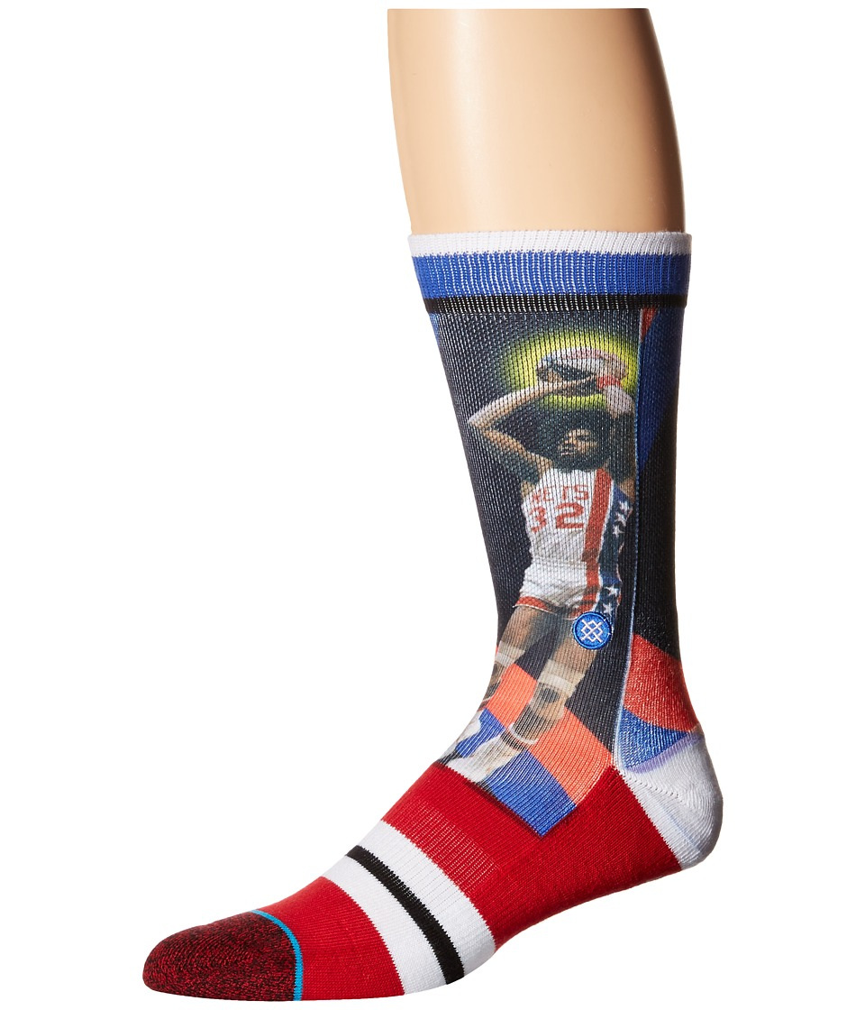 Stance Dr. J Trading Card Red Mens Crew Cut Socks Shoes
