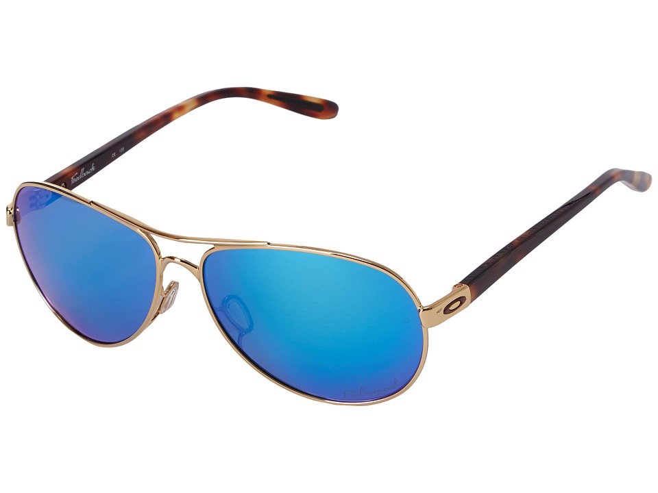 Oakley - Feedback (Polished Gold/Sapphire Iridium Polarized) Sport Sunglasses