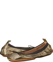 Yosi Samra - Sandrine Crackled Metallic Fold Up Flat with Bow
