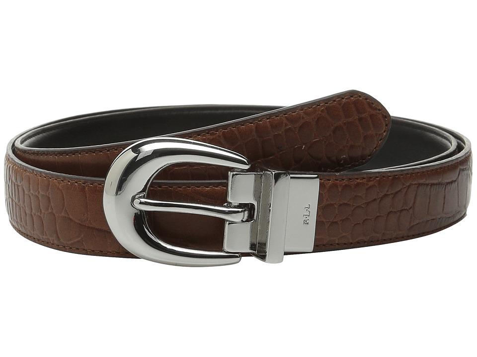 LAUREN Ralph Lauren - Lanesborough 1 Embossed Croc/Smooth Reversible (Bourbon/Black) Womens Belts