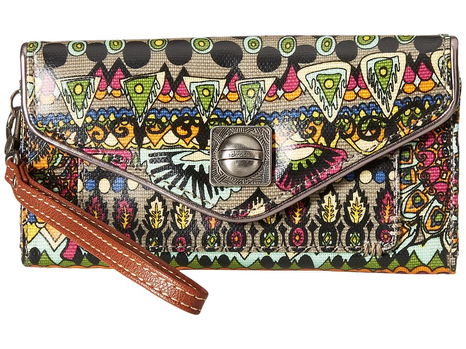 Sakroots - Artist Circle Flap Wallet Wristlet (Charcoal One World) Wristlet Handbags