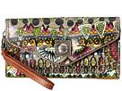 Sakroots Artist Circle Flap Wallet Wristlet (Charcoal One World)