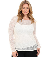Roper - Plus Size 0065 Allover Stretch Lace Long Sleeve Top