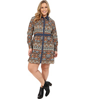 Roper - Plus Size 9902 Aztec Printed Poplin Shirt Dress
