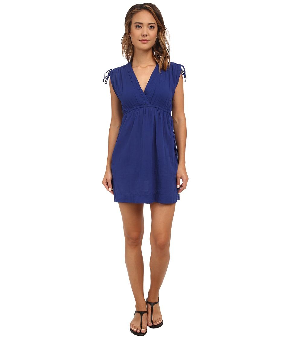 LAUREN Ralph Lauren Crushed Cotton Farrah Dress Cover Up Deep Ocean Blue Womens Swimwear