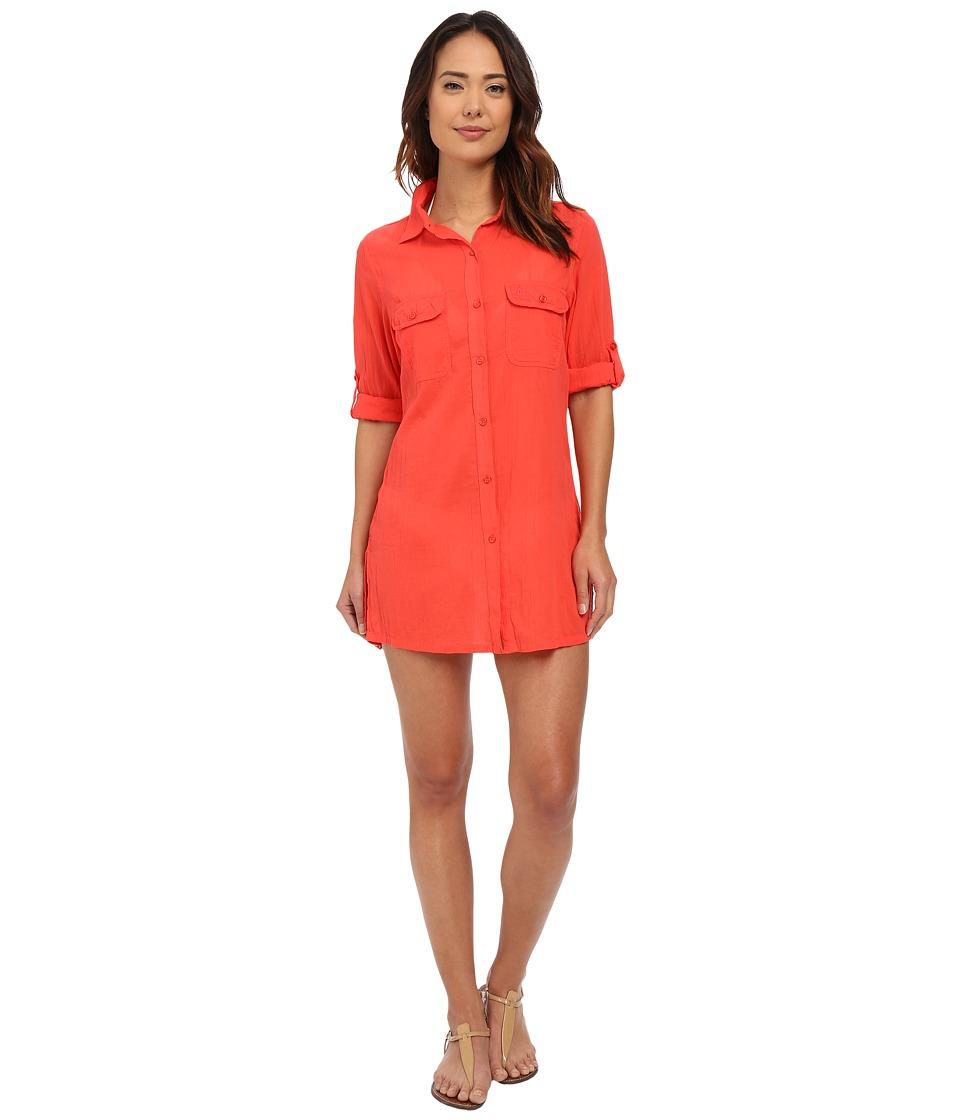 LAUREN Ralph Lauren Crushed Cotton Camp Shirt Cover Up Bright Coral Womens Swimwear