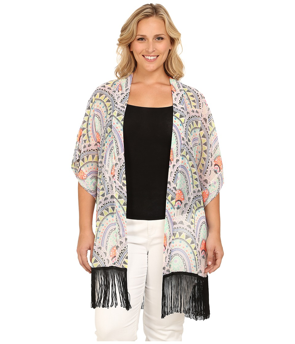 Steve Madden Plus Size Aztec Scallop Fringed Topper Lilac Womens Clothing