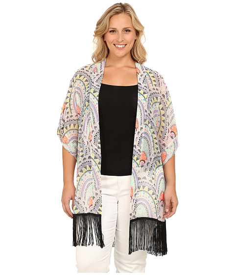Steve Madden Plus Size Aztec Scallop Fringed Topper - Lilac