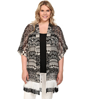 Steve Madden - Plus Size Aztec Scallop Fringed Topper