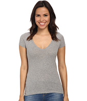 Three Dots - Short Sleeve Deep V-Neck