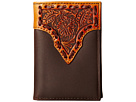 M&F Western Leather Stitch Floral Embossed Tri-Fold Wallet