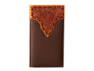 M&F Western Leather Stitch Floral Embossed Rodeo Wallet (Brown)