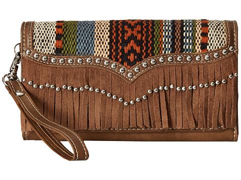 M&F Western Saddle Blanket Fringe Wristlet Wallet - Brown/Multi