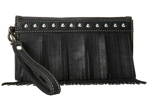 M&F Western Fringe Wristlet Wallet - Black