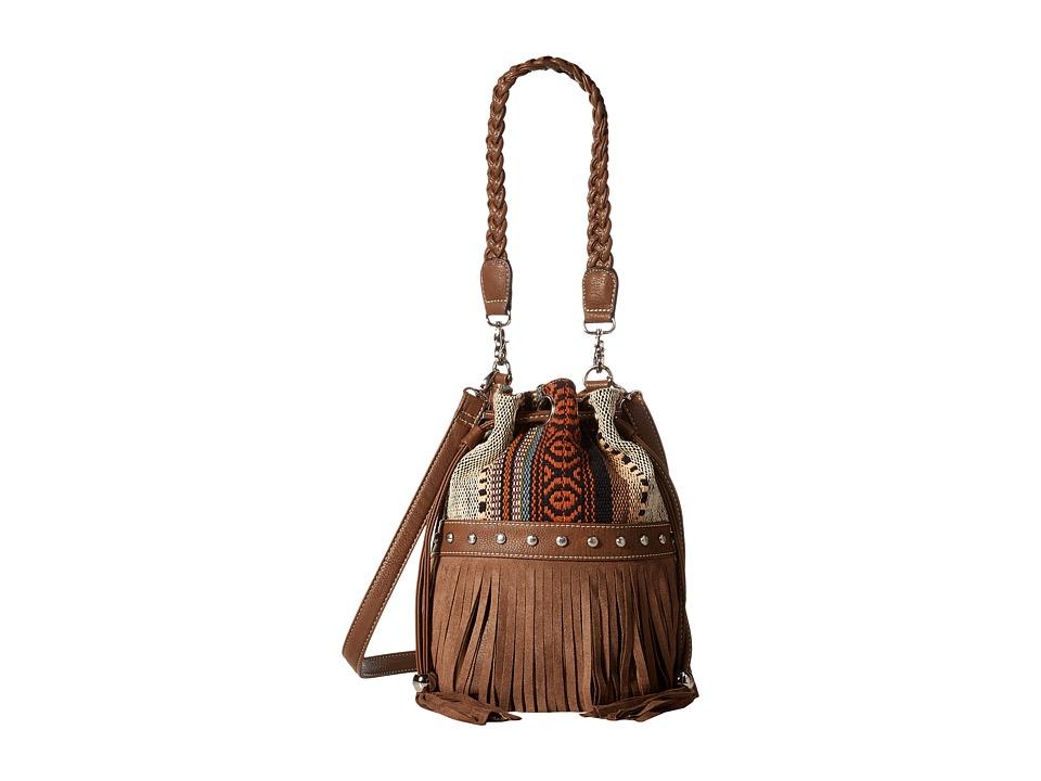 M & F Western - Saddle Blanket Fringe Bucket Bag (Brown/Multi) Handbags