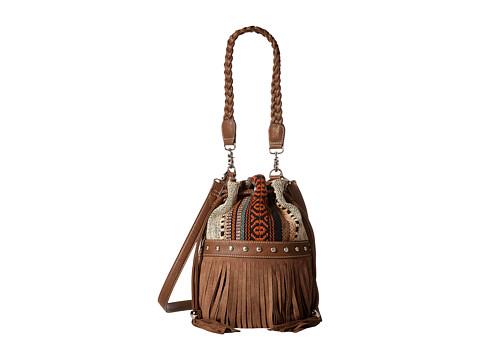 M&F Western Saddle Blanket Fringe Bucket Bag - Brown/Multi