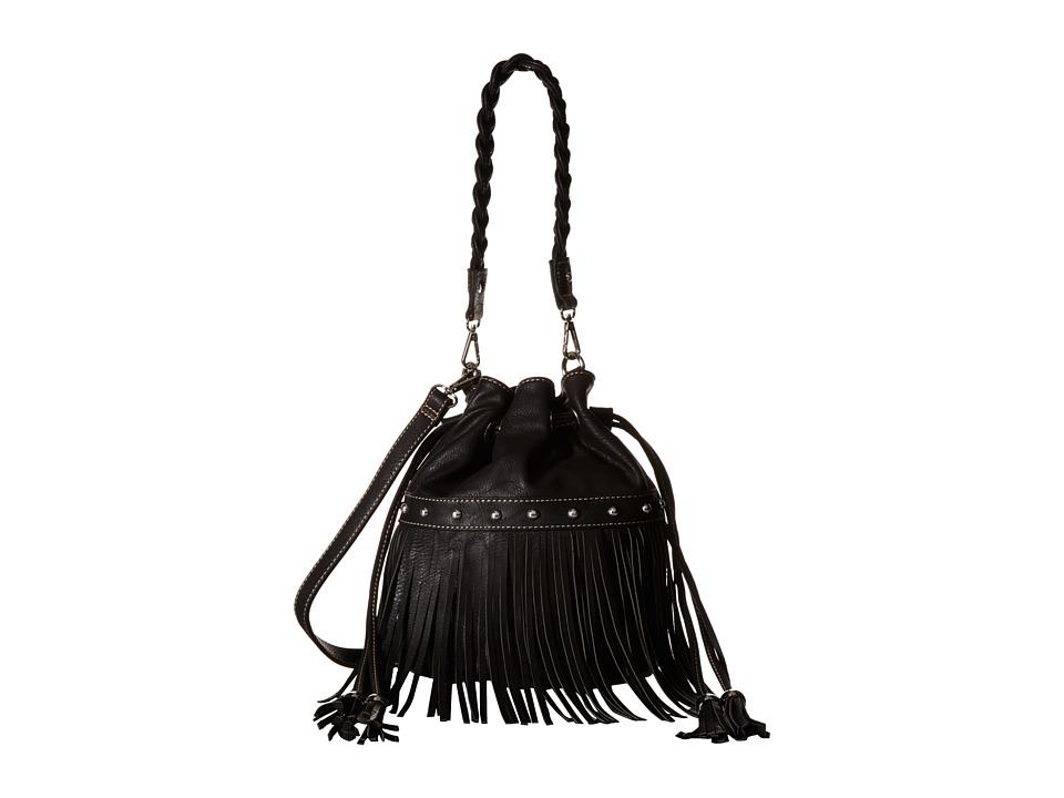 M & F Western - Fringe Bucket Bag (Black) Handbags
