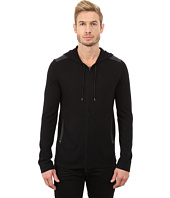 John Varvatos Star U.S.A. - Zip Front Hoodie Sweater with Tonal Rivet Patches Y1189R3B