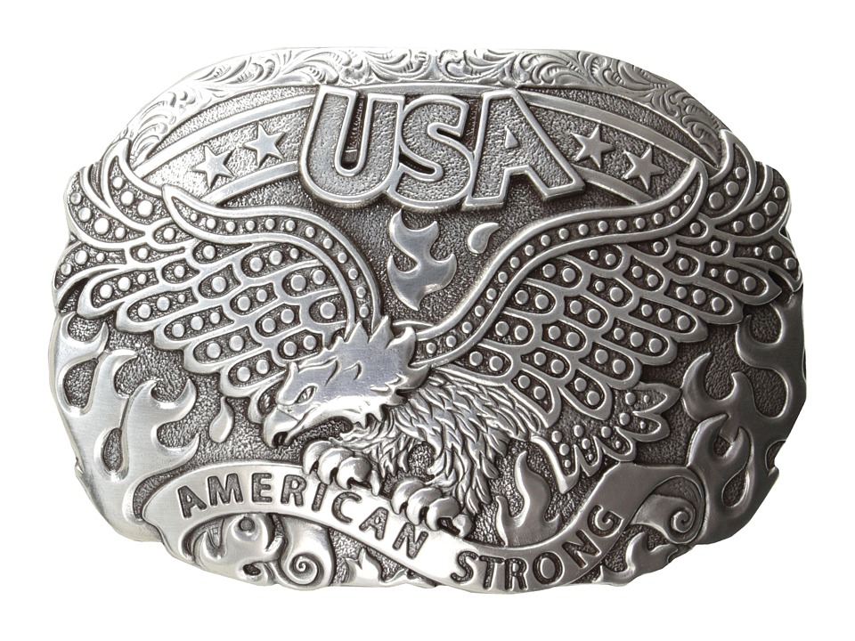 MampF Western American Strong USA Eagle Oval Buckle Silver Mens Belts