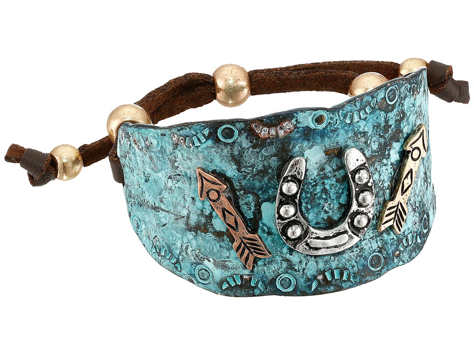 MampF Western Hammered Horeshoe Arrows Cuff Bracelet Turquoise Bracelet