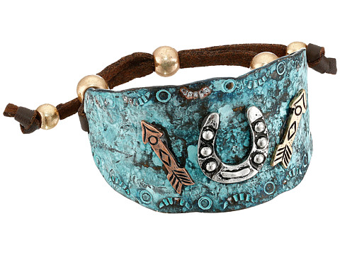 M&F Western Hammered Horeshoe & Arrows Cuff Bracelet - Turquoise