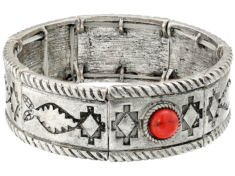 M & F Western - Southwest Engraved Stretch Bracelet (Silver) Bracelet