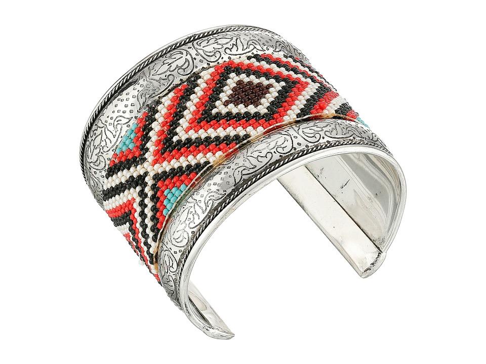MampF Western Seed Bead Filagree Cuff Bracelet Red Bracelet