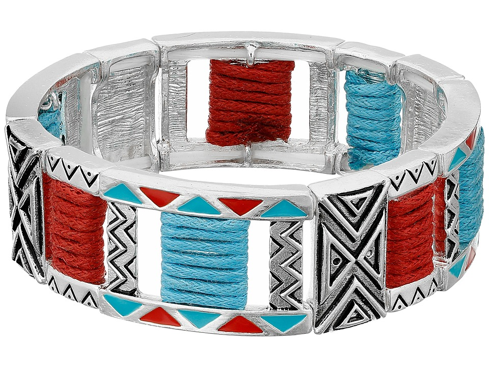 M & F Western - Tribal Double Strand Stretch Bracelet (Silver/Turquoise/Red) Bracelet