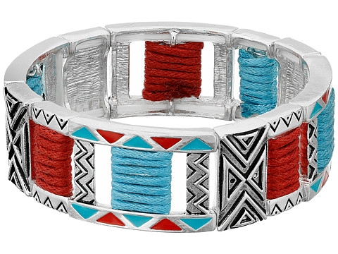 M&F Western Tribal Double Strand Stretch Bracelet - Silver/Turquoise/Red