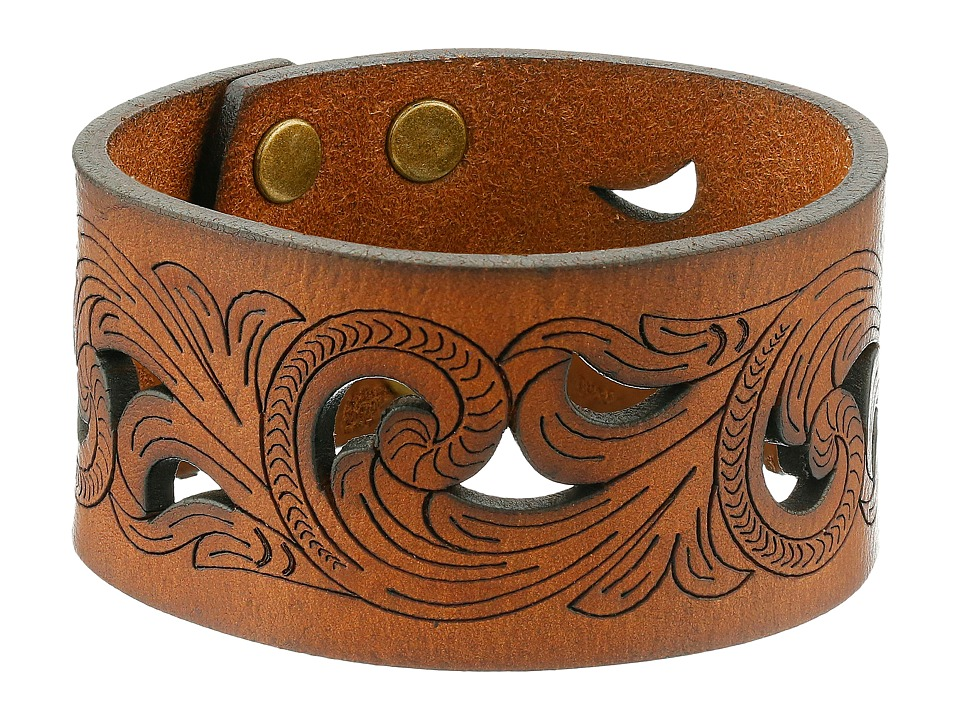 MampF Western Leather Cutout Scroll Cuff Bracelet Brown Bracelet