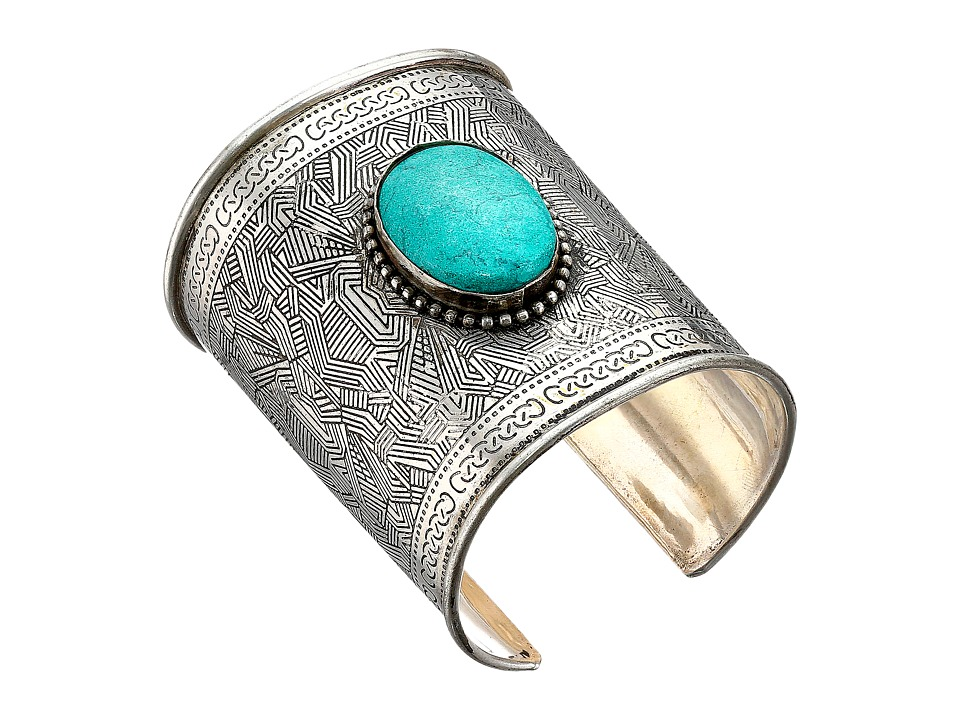 MampF Western Turquoise Clay Stone Large Cuff Bracelet Silver/Turquoise Bracelet