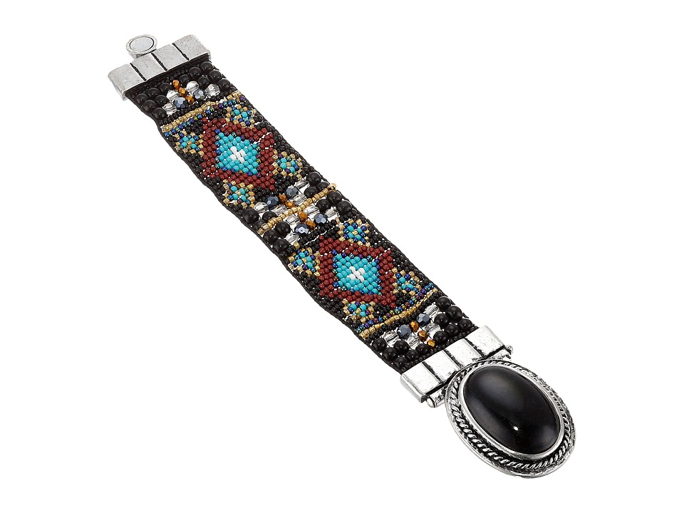MampF Western Criss Cross Tribal Cuff Bracelet Black Bracelet